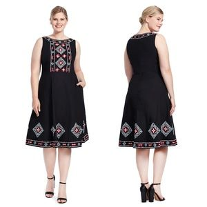 eSHAKTI Chain Stitch Embroidered Trim Dress